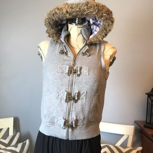 Mudd gray hoodie vest size medium